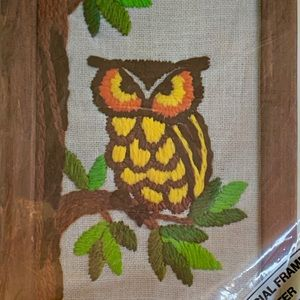 Deadstock 70s owl needlepoint embroidery kit